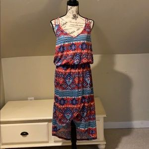 Red and blue print dress
